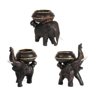 Three Elephants Carved Rain Tree Wooden Candle Holder Set (Thailand)