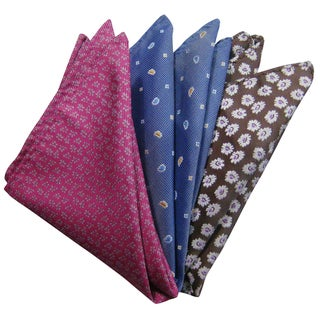 Dmitry Men's Pink/Blue/Brown Italian Silk Pocket Squares (Pack of 3)