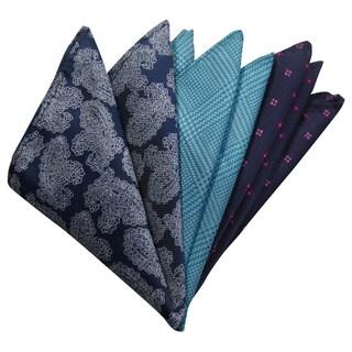 Dmitry Men's Slate/Turquoise/Blue Italian Silk Pocket Squares (Pack of 3)