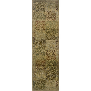 Generations Green/ Gold Polypropylene Rug (2'7 X 9'1)