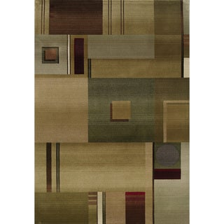 Generations Contemporary Green/ Red Polypropylene Rug (7'10 x 11')