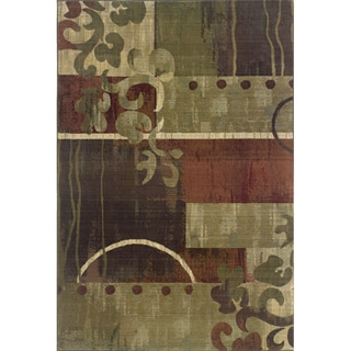 Generations Green/ Red Polypropylene Rug (7'10 X 11')