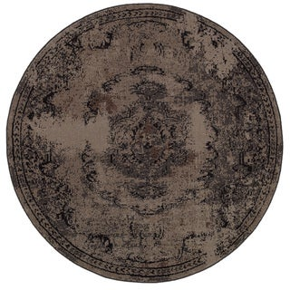 Overdyed Distressed Oriental Grey/ Black Area Rug (7'8 Round)