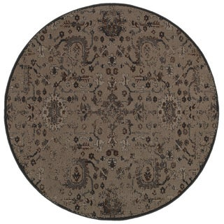 Distressed Overdyed Grey/ Black Area Rug (7'8 Round)
