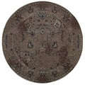 Over-dyed Style Indoor Grey/ Black Area Rug (7'8 Round)