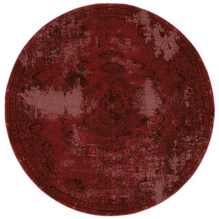 Over-dyed Style Indoor Red/ Black Area Rug (7'8 Round)