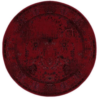 Over-dyed Style Indoor Red/ Grey Area Rug (7'8 Round)