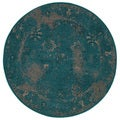 Over-dyed Style Indoor Teal/ Beige Area Rug (7'8 Round)
