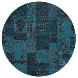 Patchwork Over-dyed Teal/ Grey Area Rug (7'8 Round)