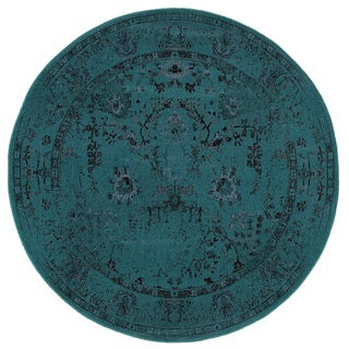 Over-dyed Style Indoor Teal/ Grey Area Rug (7'8 Round)