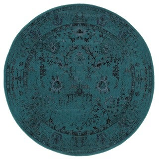 Over-dyed Distressed Traditional Teal/ Grey Area Rug (7'8 Round)