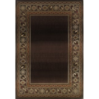 Generations Brown/ Green Rug (5'3 X 7'6)