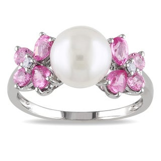 Miadora 10k White Gold Pearl, Pink Sapphire and Diamond Ring (8-8.5 mm)