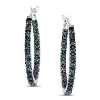 Miadora Sterling Silver 1/4ct TDW Blue Diamond Hoop Earrings