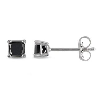 M by Miadora 10k White Gold 1/3ct TDW Princess-Cut Black Diamond Stud Earrings