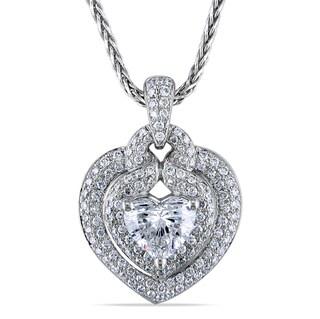 Miadora 14k White Gold 1 1/5ct TDW Certified Diamond Heart Necklace (G, SI1)