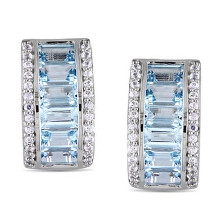 Miadora Sterling Silver Blue Topaz and Created White Sapphire Earrings