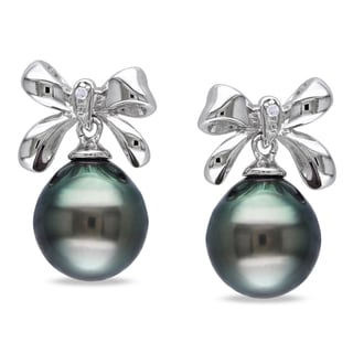 Miadora Sterling Silver Tahitian Black Pearl and Diamond Earrings (9-9.5 mm)
