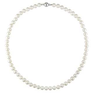 Miadora Sterling Silver Freshwater White Pearl Necklace (7-7.5 mm)