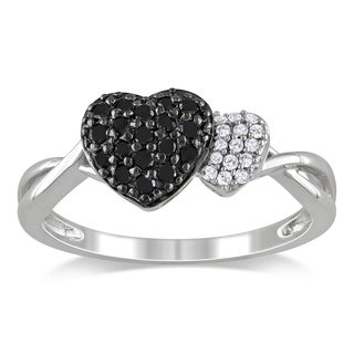 Haylee Jewels Sterling Silver 1/4ct TDW Black and White Diamond Heart Ring