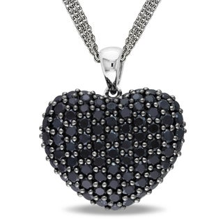 Miadora Sterling Silver Black Spinel Heart Necklace