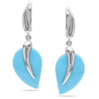 Miadora Sterling Silver Light Turquoise Earrings