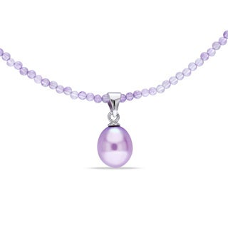 Miadora Sterling Silver Purple Pearl and Amethyst Necklace