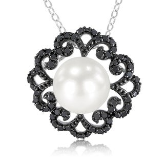Miadora Silver Pearl and 2/5ct TDW Black Diamond Necklace (9-9.5 mm)