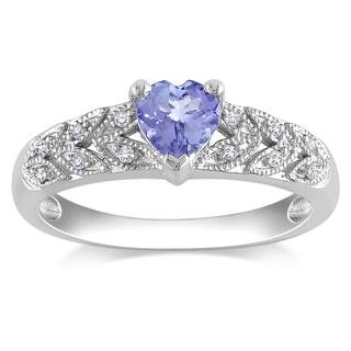 Miadora 10k White Gold Tanzanite and Diamond Heart Ring