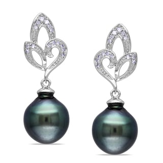 Miadora 10k White Gold Tahitian Black Pearl and 1/10ct TDW Diamond Earrings