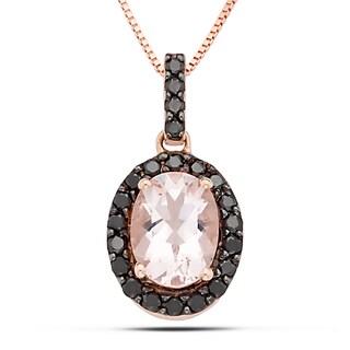 Miadora 14k Rose Gold Morganite and 1/5ct TDW Black Diamond Necklace