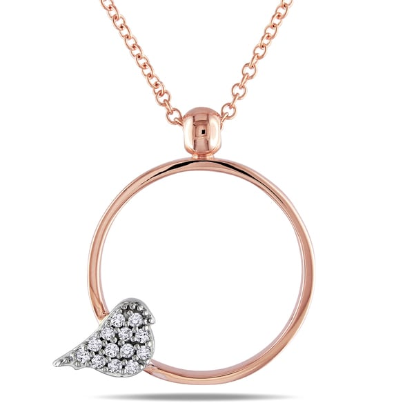Miadora 10k White and Rose Gold Diamond Bird Necklace