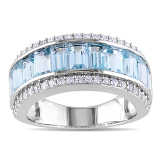 Miadora Sterling Silver Blue Topaz and Created White Sapphire Ring