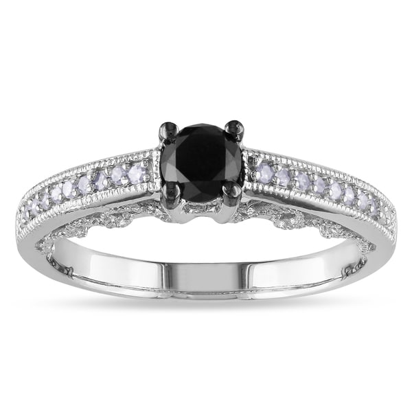 Haylee Jewels Sterling Silver 1/2ct TDW Black and White Round-cut Diamond Engagement Ring