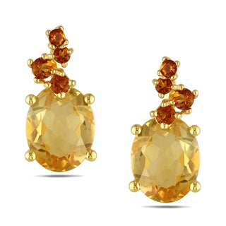 Miadora Yellow Plated Silver 3 1/2ct TGW Citrine Stud Earrings