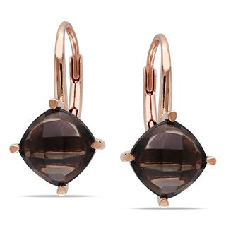 Miadora Rose Plated Silver 4ct TGW Smokey Quartz Earrings