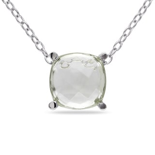 Miadora Sterling Silver 1 3/4ct TGW Green Amethyst Solitaire Necklace