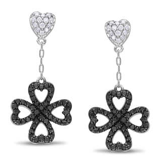 Miadora Streling Silver 1/2ct TDW Black and White Diamond Heart Dangle Earrings