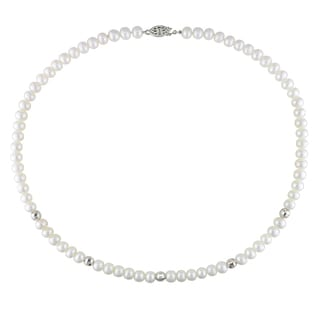 Miadora Sterling Silver Freshwater White Pearl Necklace (6-7 mm)