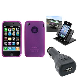 INSTEN Car Charger/ Dashboard Holder/ Phone Case Cover for Apple iPhone 3G/ 3GS