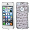 BasAcc Gray/ Silver Plate/ Diamond Leather Case for Apple iPhone 5