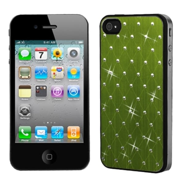 INSTEN Green Studded/ Black Phone Case Cover for Apple iPhone 4S/ 4