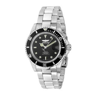 Invicta Men's Stainless Steel 'Pro Diver' Quartz Watch with Black Dial