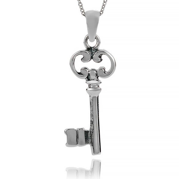Journee Collection Sterling Silver Key Pendant