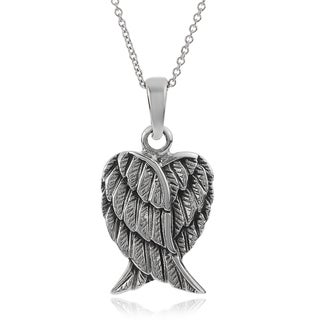 Journee Collection Sterling Silver Double Angel Wing Pendant
