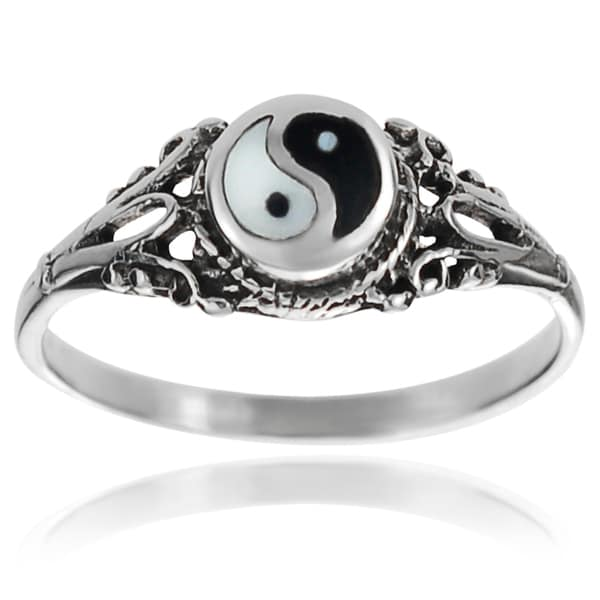 Journee Collection Sterling Silver Yin Yang Ring
