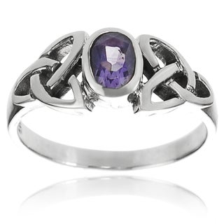 Tressa Collection Sterling Silver Gemstone Celtic Knot Ring