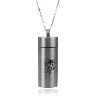 Journee Collection Stainless Steel Rose Chamber Pendant