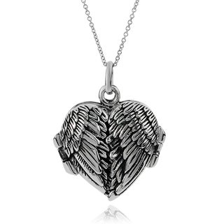 Journee Collection Sterling Silver Angel Wing Locket Pendant