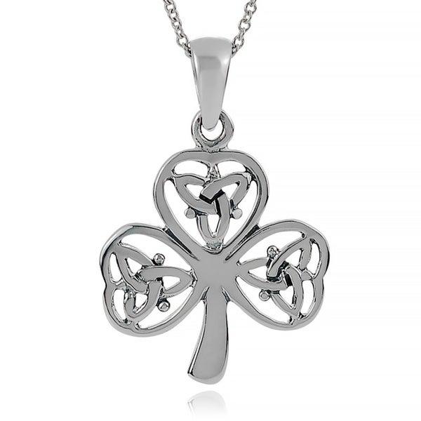 Journee Collection Sterling Silver Celtic Shamrock Pendant